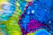 Fluid art. Liquid color inks react and create fantastic abstract shapes. Colored ink in water. Paint poster