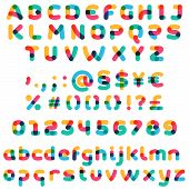 Overlapping One Line Full Set Alphabet. Curve Rounded Font. Vibrant Glossy Colors. poster