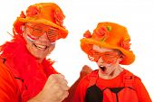 Father and son as Dutch orange soccer fans