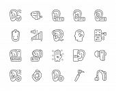 Set Of Hearing Aid Line Icons. Ear Canal, Volume Control, Hearing Loss And More. poster