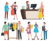 Shopping People Vector, Isolated Woman Holding Dress, Cashier At Counter With Client. Mannequin And  poster