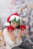 Holiday Party Hosting. Happy Child Celebrate Christmas And New Year. Little Girl Enjoy Santa Claus P poster