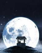 A Concept Image Showing An Old Wishing Well On A Grassy Hill At Night In Front Of A Full Moon And St poster