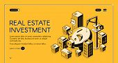 Real Estate Investment Isometric Landing Page, Huge Piggy Bank Surrounded With Skyscrapers And Build poster