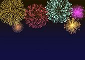 Firework Sparkling With Lights, Fireworks On Night Or Evening Sky. Explosion For Festival, Festive M poster
