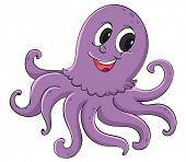 Purple octopus on a white background