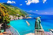 Italian summer holidays - beautiful Monterosso al Mare in Cinque Terre National park in Liguria, Ita poster
