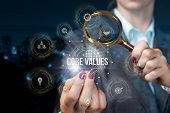 The Concept Search Of Core Values In Business. poster