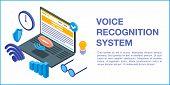 Voice Recognition System Concept Banner. Isometric Illustration Of Voice Recognition System Vector C poster