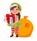 Merry Christmas Greeting Card. Cheerful Girl In Costume Of Elf Holding Gift Box. Kid In Santa Claus  poster