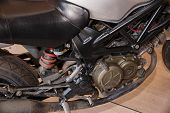 Motorcycle Before Repair Or Maintenance Of The Brake System. poster