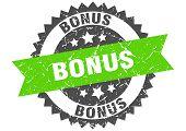 Bonus Grunge Stamp With Green Band. Bonus poster