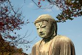 Colse Up Of Daibutsu Statue At Kotoku-in Temple; Monumental Outdoor Bronze Statue Of Amida Buddha Wh poster