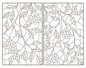 A Set Of Contour Illustrations Of Stained Glass Windows With Branches, Leaves And Berries Of Rowan,  poster