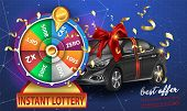 Wheel Of Fortune 3d Object Isolated On Blue Background With The Main Prize The Car Tied With A Ribbo poster