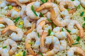 Shrimp Fried Rice And Soy Sauce With Shrimp On Top In The Pan To Make It Look Appetizing At The Loca poster