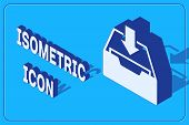 Isometric Download Inbox Icon Isolated On Blue Background. Add To Archive. Vector Illustration poster