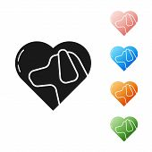 Black Heart With Dog Icon Isolated On White Background. Pet Paw In Heart. Love To The Animals. Set I poster