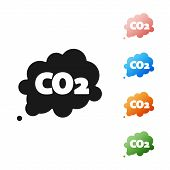 Black Co2 Emissions In Cloud Icon Isolated On White Background. Carbon Dioxide Formula Symbol, Smog poster