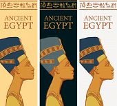 Set Of Vector Banners With Profile Of Nefertiti And Egyptian Hieroglyphs. Queen Of Ancient Egypt. Wi poster