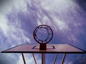 Basketball Rim, Basketball Net On A Basketball Court At A Basketball Game. The Background Is Clear B poster