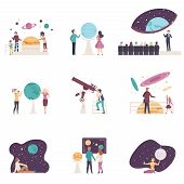 People Characters Visiting Planetarium Vector Illustrations Set poster