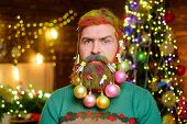 Decorated Beard. Christmas Decorations. New Year Party. Serious Santa Man With Decorated Beard. Bear poster