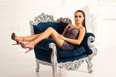 Beauty Woman In Party Dress Posing In Luxury Interior. Fashion Bright Makeup. Sensual Girl With Fash poster
