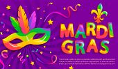 Banner For Mardigras Festive.mask With Feathers For Mardi Gras Carnival Party.traditional Masque For poster