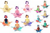 Set Of Abstract Meditated Women In Different Colours. Female Cartoon Character Sitting In Lotus Post poster