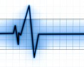 picture of blue-screen-of-death  - Heart beat on a clinic monitor on a blue background - JPG