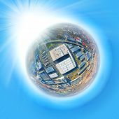 Industrial planet. 360 degree panorama on air pollution and climate change theme. Heavy industry as  poster