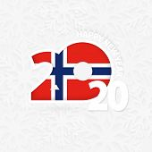 Happy New Year 2020 For Norway On Snowflake Background. Greeting Norway With New 2020 Year. poster