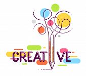Creative Word With Pencil Instead Of Letter I, Ideas And Creativity Concept, Vector Conceptual Logo poster