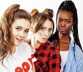 Diverse Multi Nation Girls Group, Teenage Friends Company Cheerful Having Fun, Happy Smiling, Cute P poster