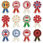 stock photo of yugoslavia  - european flag rosettes andorra austria malta norway turkey cyprus hungary switzerland yugoslavia finland monaco and albania - JPG