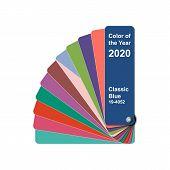 Change Color Of The Year To 2020, Classic Blue Trend Colour Palette Sample Swatch Book Guide, Stock  poster