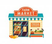 Farm Market Flat Vector Illustration. Food Store Building Exterior. Vegetable Shop Facade With Signb poster