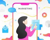 Social Media Management Marketing Concept With Characters. Modern Digital Marketing, Mobile Marketin poster