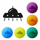 Black Ufo Flying Spaceship Icon Isolated On White Background. Flying Saucer. Alien Space Ship. Futur poster