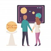 Young Couple Discussing Astronomical Facts And Notions In Planetarium Vector Illustration poster