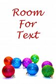 Christmas Tree Ornaments. Isolated on white. Room for text. Christmas Ornaments are enjoyed world wi poster