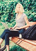Modern Woman Student Study Online Outdoor. Students Life. Pretty Woman. Online Education. Student Pr poster