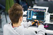 Programmer Coder Working On His Laptop. Software Development. Programmer Coding Web Application Clie poster