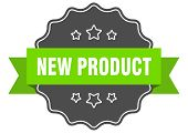 New Product Isolated Seal. New Product Green Label. New Product poster