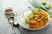 Chicken And Cashew Red Curry With Rice And Herbs, Thai Inspired Dish poster