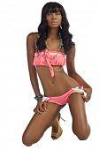 stock photo of african american woman  - African American Woman in Pink Bikini - JPG