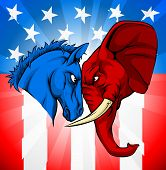 American Politics Or Election Debates Concept With Animal Mascots Of The Democrat And Republican Pol poster