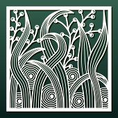 Laser Cut Panel With Abstract Floral Pattern. Template For Wood Or Metal Cutting And Engraving, Pape poster