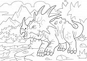 Prehistoric Horned Dinosaur Styracosaurus, Coloring Book, Funny Illustration poster